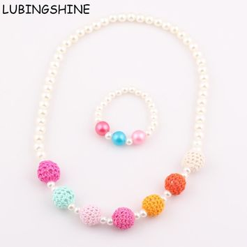 2017 New Hot Sale Handmade Crochet Knitting Wool Ball Beads Children Necklace Bracelet Kids Baby Necklace Jewelry set ST73