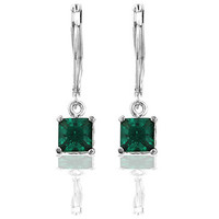Genuine Rhodium Plated Dangle Earrings with Princess Cut Emerald Green Cubic Zirconia in a Prong Setting Polished into a Lustrous Silvertone Finish