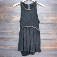 black vintage acid wash high-low racer back tank
