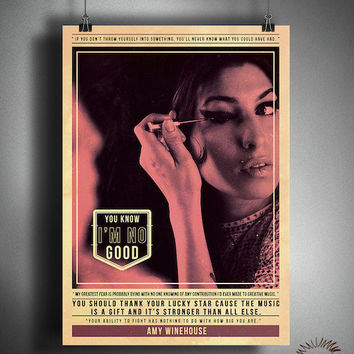 Amy Winehouse - Quote Retro Poster - Music Legends Series