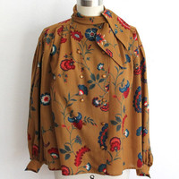 Vintage 70s Mustard Floral Paisley Print Swing Smock Blouse with Neck Tie