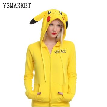 YSMARKET 2018 Fashion Women Jacket Yellow Solid  Pikachu Printed Costume Tail Zip Totoro Hoodie Sweatshirt Sudaderas MujeKawaii Pokemon go  AT_89_9