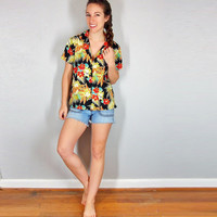 Tropical Hawaiian Shirt, Bright Tropical Exotic Blouse, XS Small Medium