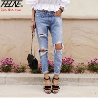 Womens Ripped Low Waist Jeans