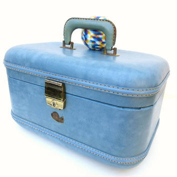 Vintage Blue Train Case / Stratosphere Make up Bag / Carry On Suitcase / Overnight Bag