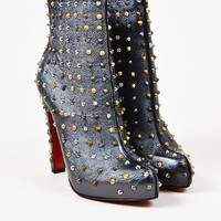 DCCK Christian Louboutin Gunmetal Leather Studded  Ariella  Booties