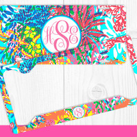 Vibrant Floral Paisleys Monogram License Plate Frame Holder Metal Wall Sign Tags Personalized Custom Vanity