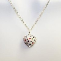 White Heart with Swarovski Crystal on Sterling Silver Chain