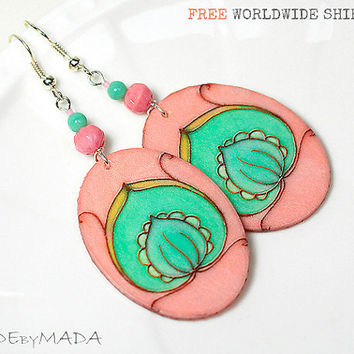 Salmon Pink & Mint Green  Earrings  Romantic Delicate oval Jewelry 2-sided , gift for her under 25