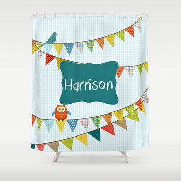 Party Boy  Personalized Shower Curtain - Children's  Bathroom Decor