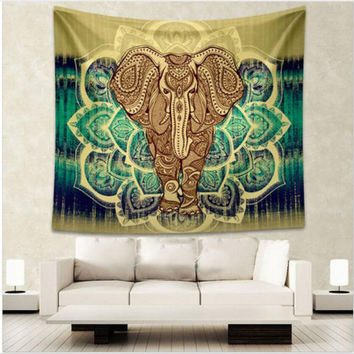 Indian Elephant Tapestry Aubusson Colored Printed Decor Mandala Tapestry Religious Boho