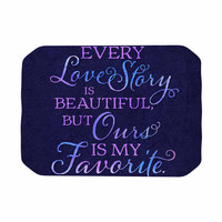 """Noonday Design """"Every Love Story Is Beautiful"""" Blue Purple Place Mat"""