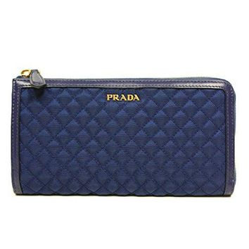 Prada 1M1183 Wallet in Stitched Quilted Pattern Bluette Royal Blue Leather and Nylon