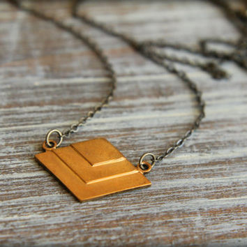 Layered Geometric Diamond Necklace in Raw and Aged Brass