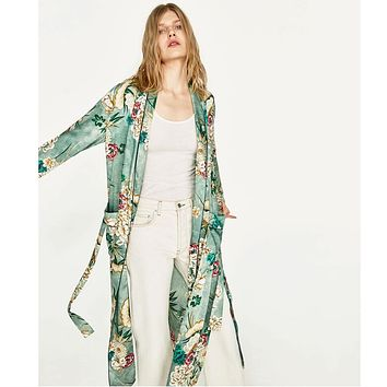 Women's Clothing Floral Print Split Womens Chiffon Shirts Casual Loose 3/4 Sleeve Kimono Woman Cardigan Spring Summer Female Outwear Blouses