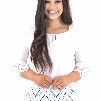 Women's Tribal Eyelet Trimmed Blouse with 3/4 Bell Sleeves
