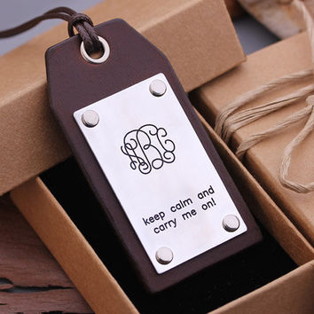 Personalized Leather Luggage Tags - Hand made Luggage Tags - Monogram Luggage tag - Gift for Love