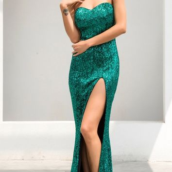Show Me Some Love Green Sequin Strapless Sweetheart Neck High Slit Fishtail Maxi Dress