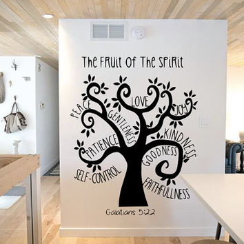 Fruit Of The Spirit Tree Wall Decal - Galatians Quote - Home Decor - Gift Idea - Living Room - Bedroom - Office - High Quality Vinyl Graphic