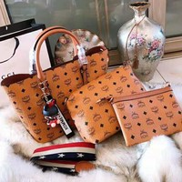 MCM High Quality Fashionable Women Shopping Bag Leather Handbag Tote Shoulder Bag Three Piece Set
