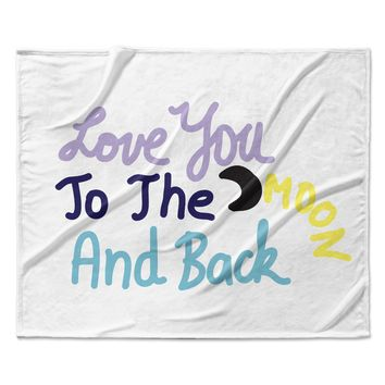 "Vasare Nar ""Love You To The Moon And Back"" Pastel Vector Fleece Throw Blanket"