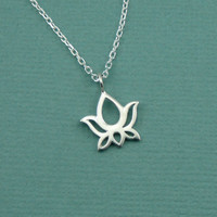 Petite Lotus Necklace, sterling silver flower , yoga lotus necklace