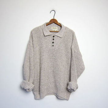 vintage henley oatmeal sweater slouchy ribbed knit sweater cotton pullover collared boyfriend sweater button front sweater medium