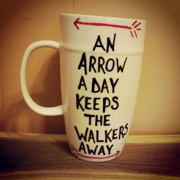 An arrow a day keeps the walkers away./hand painted/mug/cup/coffee/The Walking Dead/Daryl Dixon