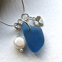 Sea Glass Sterling Silver Heart Necklace by thestrandline on Etsy