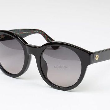 Nib | Gucci Sunglasses | Black Floral | Oversized Round Frame | Made In Italy