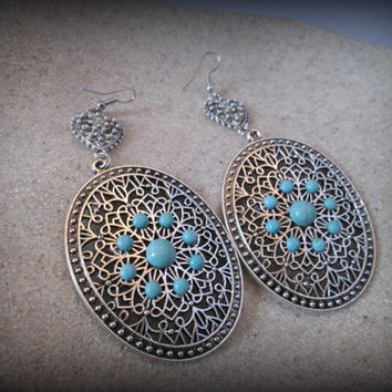 Turkish earring,huge turquoise earring,bohemian jewelry,tribal jewelry,filigree earring-ethnic earring-boho earring-turquoise earring