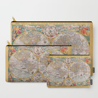 Carry-All Pouch or Laptop Sleeve - Old Map 1594 - Canvas-like fabric, Travel, Pocket, Leaves, Traveler, Custom, Carry, Cosmetic, Make-up