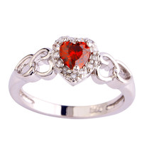 Romantic Pretty Heart Cut Ruby Spinel 925 Silver Ring Size 7 New Design New Fashion Jewelry