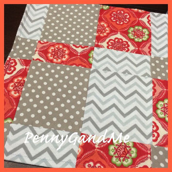 Diaper Bag Rag/Large Burp Cloth/Patchwork Chevron