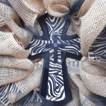 Burlap with Zebra Cross and Black Tulle Ribbon Wreath-Outdoor Wreath-Spring Wreath-Cross Wreath-Religious Wreath-Burlap Wreath