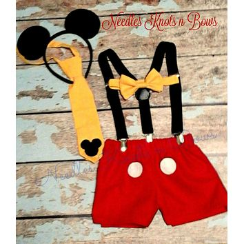 Boys Mickey Mouse Birthday Cake Smash Set, Boys First Birthday Cake Smash Outfit, Mickey Mouse Birthday