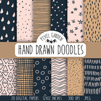 SALE - 70% OFF. Hand Drawn Doodle Digital Papers. Navy and Pink Scribble Papers. Geometric Doodle Patterns. Hand Drawn Chevron, Polka Dots.