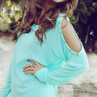 She's Got A Sharp Edge Sweater: Mint | Hope's