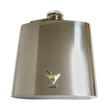 Silver Toned Detailed Martini Glass 6oz Flask