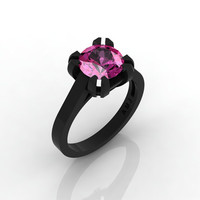 Modern 14K Black Gold Gorgeous Solitaire Bridal Ring with a 2.0 Carat Pink Sapphire Center Stone R66N-14KBGPS