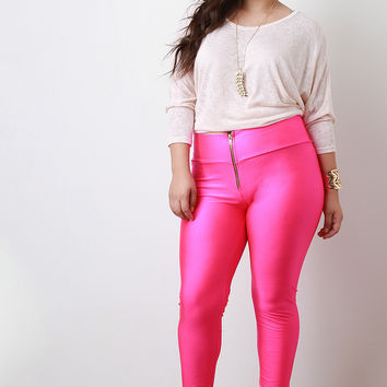 High-Waist Zipper Nylon Leggings