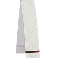Hermann Kids' Wool Scarf, Ivory, Size: ONE SIZE, IVORY/DARK GREEN - Gucci