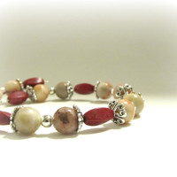 Vintage Inspired Red Chalk Turquoise and Natural Sardonyx Jasper Wrap Memory Wire Bracelet - Valentine's Gift
