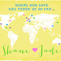 Custom Map for Home Decor - 8x10 Personalized Map Art Print, Where Our Love Has Taken Us, Hearts on Each City, Romantic, Pastel, Candy Color