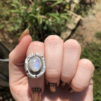Rainbow Moonstone ring size 5 sterling silver