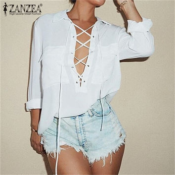 Turn Down Collar Chiffon Deep V Front Lace Up