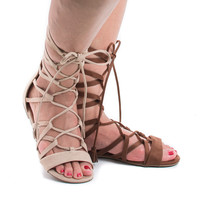 Judas Cognac By Soda, Open Toe Gladiator Lace Up Leg Wrap Flat Sandals