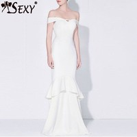 Elegant Solid Mermaid Floor Length Spring Women Evening Party Dress Sexy Slash Neck Off Shoulder Women Dress Vestidos Gosexy New