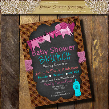 Burlap Chalkboard Baby Shower Invitation Brunch Rustic Rehearsal Dinner Wedding invitations Surprise any color Turquoise Pink