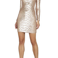 BCBG Sabryna Long-Sleeve Python Sequin Dress